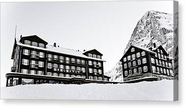 Hotel Bellevue Des Alpes And Eiger Nordwand Canvas Print by Frank Tschakert