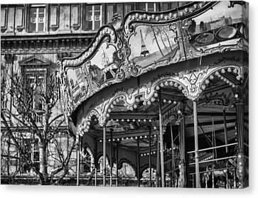 Wooden Platform Canvas Print - Hotel-de-ville Carousel In Paris. by Pablo Lopez