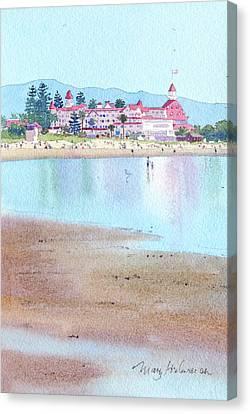 Hotel Del Coronado Low Tide Canvas Print by Mary Helmreich