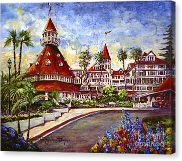 Hotel Del With Flowers Canvas Print