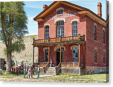 Hotel Meade Cowboys Canvas Print by Steven Bateson