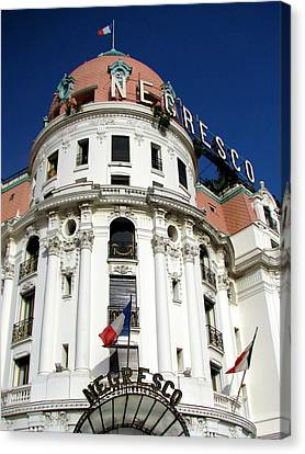 Hotel Negresco In Nice Canvas Print by Carla Parris