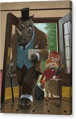 Hotel Rhino And Porter Fox Canvas Print by Martin Davey