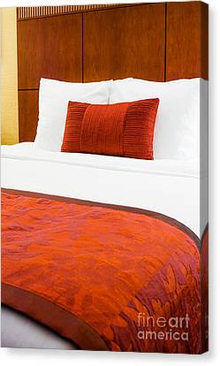 Hotel Room Bed  Canvas Print