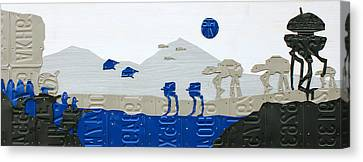 Hoth Star Wars Scene Panorama Made Using Vintage Recycled License Plates On White Wood Plank Canvas Print