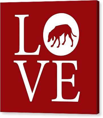 Hound Dog Love Red Canvas Print by Nancy Ingersoll