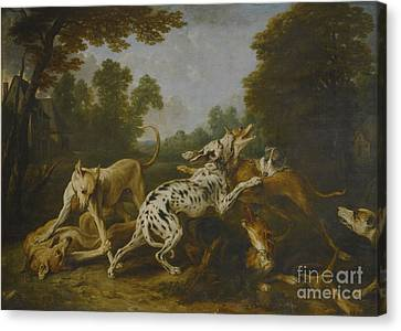 Hounds Fighting In A Village Canvas Print by MotionAge Designs