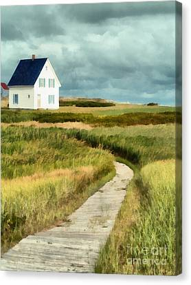 House At The End Of The Boardwalk Canvas Print by Edward Fielding