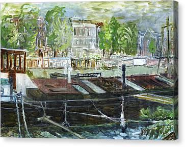 House Boat In Amsterdam Canvas Print by Joan De Bot