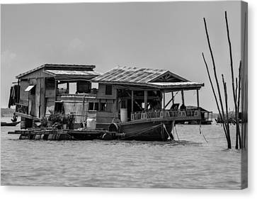 House Boat In Asia Canvas Print by Georgia Fowler