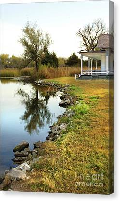 House By The Edge Of The Lake Canvas Print by Jill Battaglia