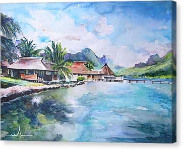 House By The Lagoon In French Polynesia Canvas Print by Miki De Goodaboom