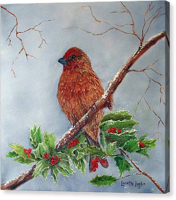 House Finch In Winter Canvas Print