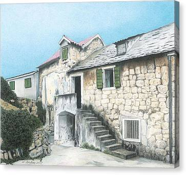 House In Split Croatia Canvas Print by Wilfrid Barbier