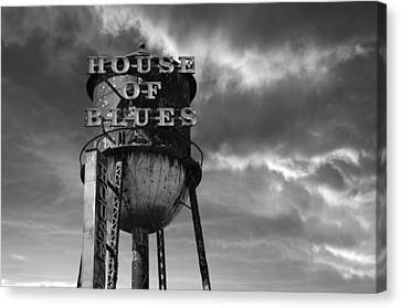 Canvas Print featuring the photograph House Of Blues B/w by Laura Fasulo