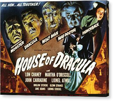 Horror Fantasy Movies Canvas Print - House Of Dracula, Glenn Strange, John by Everett