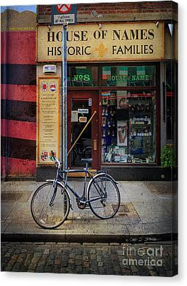 Canvas Print featuring the photograph House Of Names Bicycle by Craig J Satterlee
