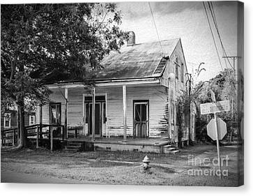 Screen Doors Canvas Print - House On Chetimaches St. Bw Digital Art by Kathleen K Parker