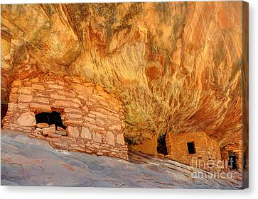 House On Fire Anasazi Indian Ruins Canvas Print by Gary Whitton