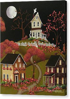 House On Haunted Hill Canvas Print by Catherine Holman