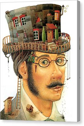 Hat Canvas Print - House On The Hat by Kestutis Kasparavicius