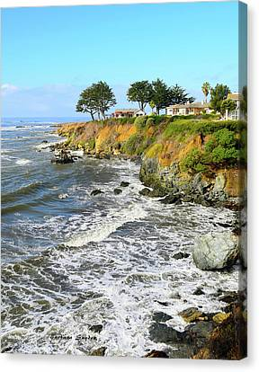 Canvas Print featuring the photograph House On The Point Cayucos California by Barbara Snyder