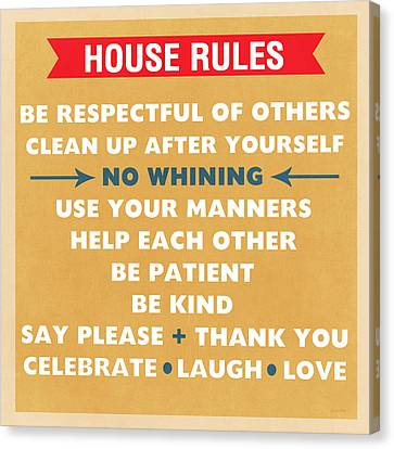 No Love Canvas Print - House Rules by Linda Woods