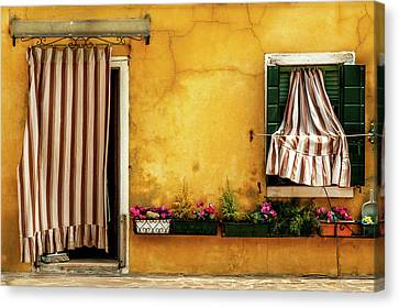 House With Drapes Burano Italy Canvas Print by Xavier Cardell