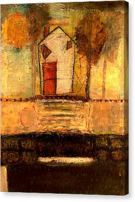 House With Red Door Large Image Canvas Print by Lynn Bregman-Blass