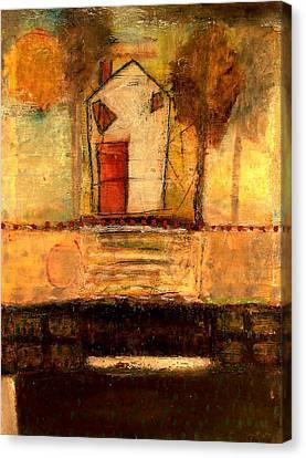 House With Red Door Canvas Print by Lynn Bregman-Blass