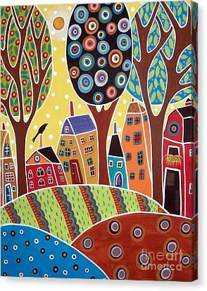 Houses Barn Landscape Canvas Print by Karla Gerard