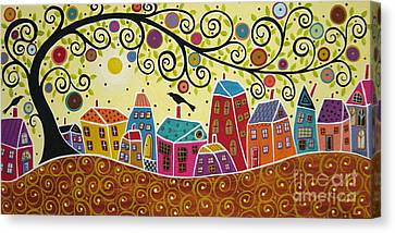 Houses Birds And A Tree Canvas Print by Karla Gerard