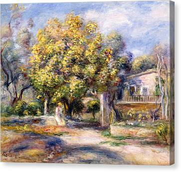 Houses In Cagnes Canvas Print by Pierre Auguste Renoir