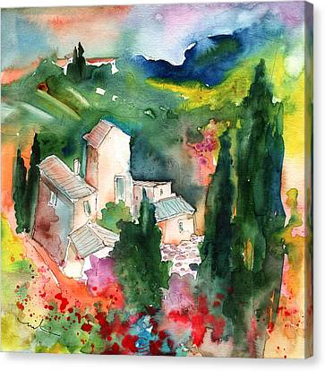 Houses In Montepulciano In Tuscany 01 Canvas Print by Miki De Goodaboom