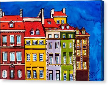 Canvas Print featuring the painting Houses In The Oldtown Of Warsaw by Dora Hathazi Mendes