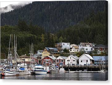 Houses Line Ketchikan Harbor Canvas Print by Melissa Farlow