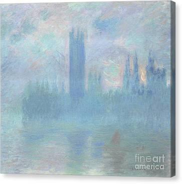 Houses Of Parliament  London Canvas Print by Claude Monet