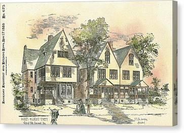 Houses On Locust Street Walnut Hills Cincinnati Ohio 1888 Canvas Print by SE DesJardins
