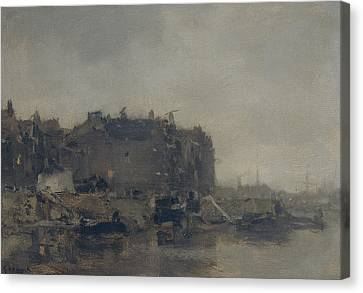 Houses On The Prins Hendrikkade In Amsterdam On A Foggy Day Canvas Print