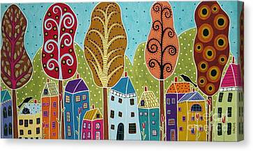 Houses Trees Birds Painting By Karla G Canvas Print by Karla Gerard