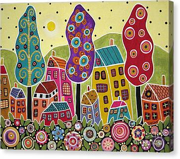 Houses Trees Flowers Canvas Print by Karla Gerard