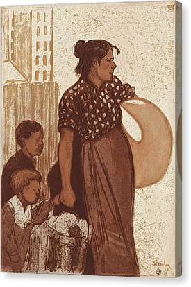 Housewife And Children Returning From The Laundry House Canvas Print by Theophile Alexandre Steinlen