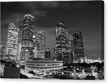 Houston By Night In Black And White Canvas Print