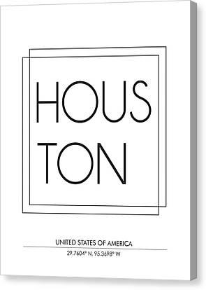 Houston City Print With Coordinates Canvas Print