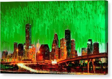 Centre Canvas Print - Houston Skyline 115 - Pa by Leonardo Digenio