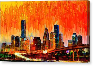 Houston Skyline 116 - Pa Canvas Print by Leonardo Digenio
