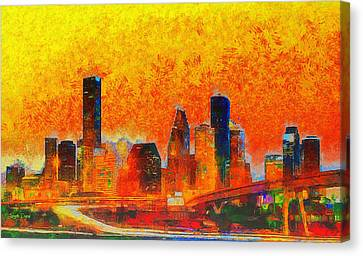 Skies Canvas Print - Houston Skyline 135 - Pa by Leonardo Digenio