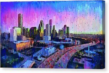 Houston Skyline 34 - Da Canvas Print by Leonardo Digenio