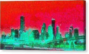 Houston Skyline 47 - Da Canvas Print by Leonardo Digenio