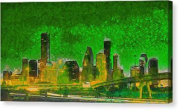 Houston Skyline 49 - Pa Canvas Print by Leonardo Digenio